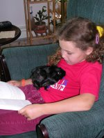 Emma reading with guinea.