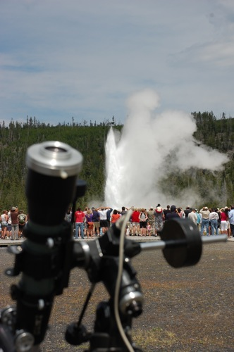 Telescope and geyser.